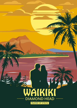 Waikiki island of O ahu Retro Vintage style travel poster or sticker. Tropical island paradise couple of lovers sunset, ocean, beach and palm trees. Summer vacation holiday. Vector, isolated
