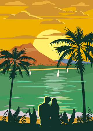 Retro Vintage style travel poster or sticker. Tropical island paradise couple of lovers sunset, ocean, beach and palm trees. Summer vacation holiday. Vector, isolated Stock Illustratie
