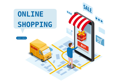 Online shopping, express delivery service, courier service. Isometric design smartphone buyer orders goods, delivery truck, city map, transport logistics. Mobile applications technology. Template, poster, banner, vector, illustration