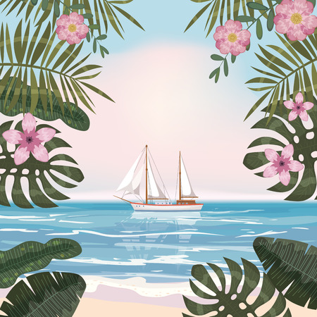 Summer tropical background with exotic floral plants leaves palm, beach ocean seashore
