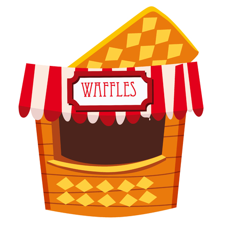 Street stall tent, kiosk and marketplace, selling waffles