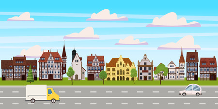 Cityscape, panorama horizontal view, old buildings architecture, road highway cars. Vector, illustration, cartoon, isolated