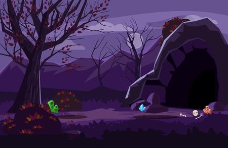 Paesaggio fantasy notturno, montagne, grotte, alberi, autunno