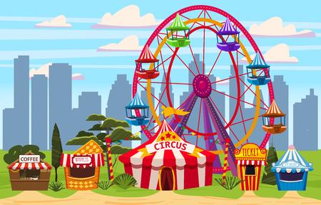 Vergnügungspark, ein Stadtbild mit Zirkus, Karussells, Karneval, Attraktion und Unterhaltung