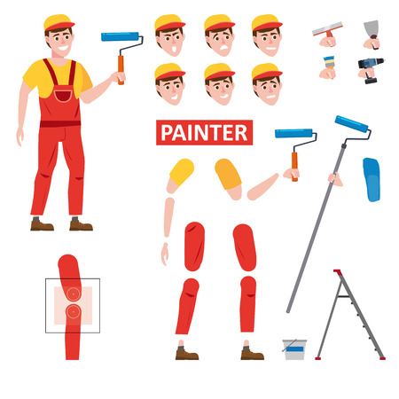 Painter profession worker character for animation. Front view Stock Illustratie