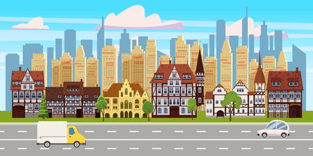 Cityscape, panorama horizontal view, old buildings architecture, skyscrapers modern buildings silhouettes in the background, road highway cars. Vector, illustration, cartoon, isolated 일러스트