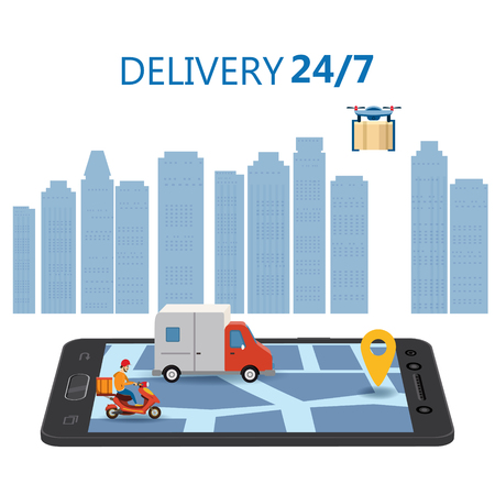 Online Delivery Concept and Shopping Online. Smartphone with moped, truck, drone, buyer, 3d vector isometric illustration Mobile Application. Concept Marketing. Vector, web banner, isolated