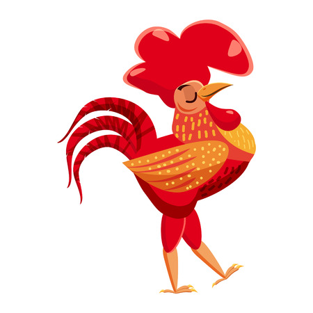 Cute cock, rooster, animal trend cartoon style vector
