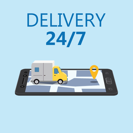 Online Delivery Concept and Shopping Online. Smartphone with truck, 3d vector isometric illustration Mobile Application. Concept Marketing. Vector, web banner, isolated Illustration