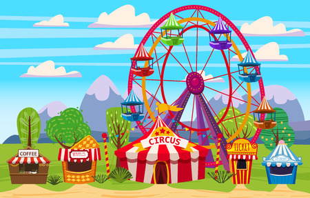 Amusement park, a landscape with a circus, carousels, carnival, attraction and entertainment 일러스트