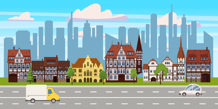 Cityscape, panorama horizontal view, old buildings architecture, skyscrapers modern buildings silhouettes in the background, road highway cars. Vector, illustration, cartoon, isolated Ilustração