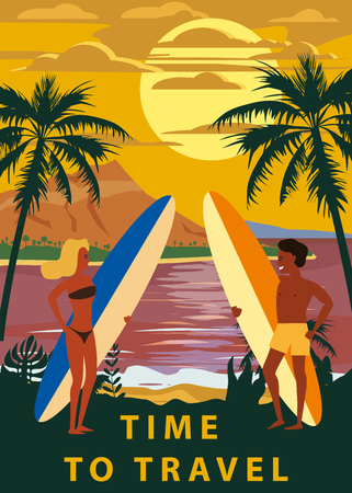 Surfers man and woman couple on the beach, sunset, coast, palm trees