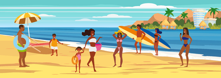 People at beach womens mens kids on seashore relaxing and performing leisure outdoor activities Illustration