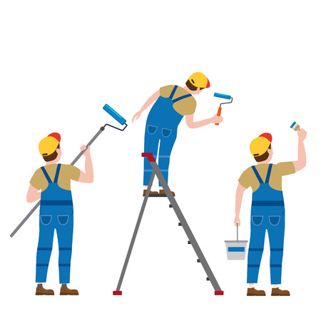 Set Painter proffessional characters man at work. Male painters in uniform applying paint to wall Vector Illustration