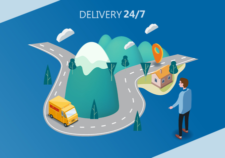 Delivery service concept, truck, van, buyer men, landscape mountains road, 3d vector isometric illustration, online order tracking, Concept Marketing. Vector, web banner, isolated, landing page, template, ui, web, mobile app, poster, banner, flyer