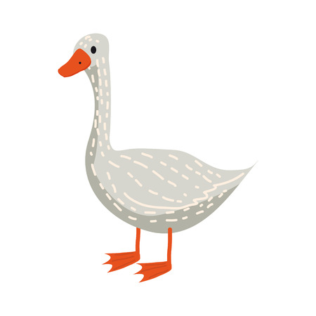 Cute goose, animal, bird, trend, cartoon style, vector, illustration, isolated on white background