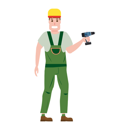 Industrial construction worker character with with a screwdriver tool, installer