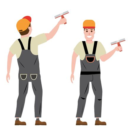 Master plastering wall plasterer, profession, character, uniform, tool putty knife. Front and back view. Vector illustration of cartoon flat design style, isolated
