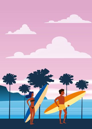 Surfers man and woman on the beach, coast, palm trees