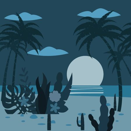 Landscape night tropics exotic flora plants, palm trees, leaves, cacti