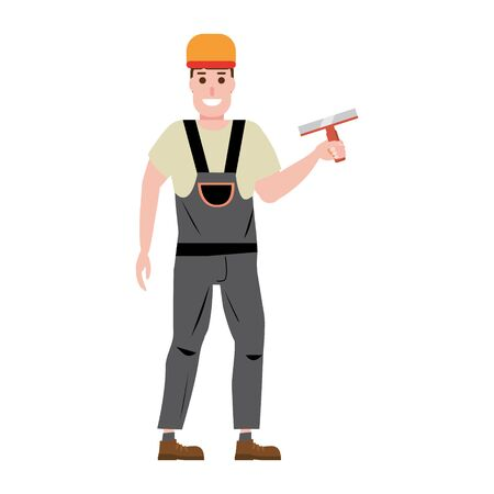 Master plastering wall plasterer, profession, character, uniform, tool putty knife. Vector illustration of cartoon flat design style, isolated