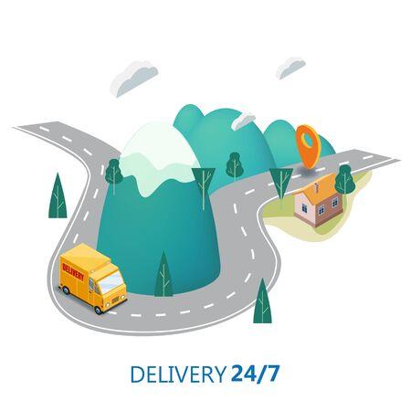 Delivery Service Concept, Truck, Van Landscape Mountaince Road