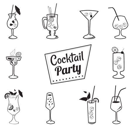 Icons cocktails cartoon style,drinks menu, cafes, restaurants, vector Illustration