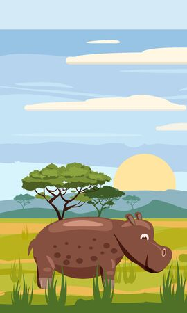 Hippo on the background of the African landscape, savanna, Cartoon style
