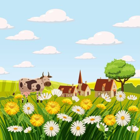 Fresh spring landscape, farm, cows, fields, meadows, daisies and dandelions, grass greeting isolated Cartoon style