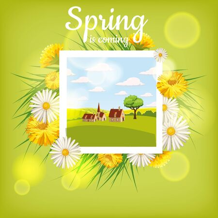Card, farm, cow. Landscape countryside, spring flowers, dandelions, chamomiles, cartoon style, isolated, vector, illustration