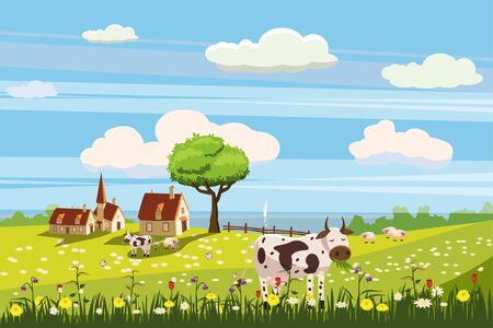 Lovely country rural landscape, cow grazing, farm, flowers pasture