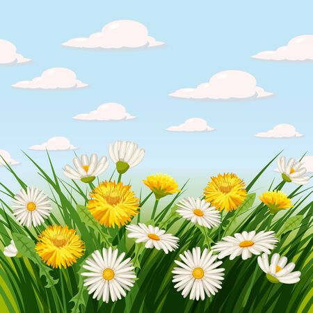Fresh spring background with grass, dandelions and daisies. Vector, poster, template Ilustracja