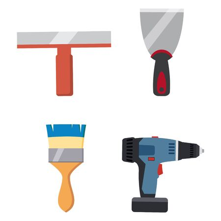 Set tools putty knife, spatula, brush, electric screwdriver repair tool. Spackling or paint instruments. Vector illustration isolated on white. Cartoon style Illustration