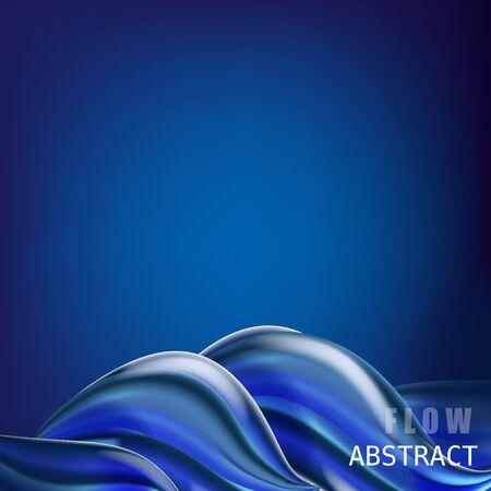 Affiche de flux coloré abstrait à la mode, baner, modèle. Forme liquide de vague dans la couleur bleue Vecteurs