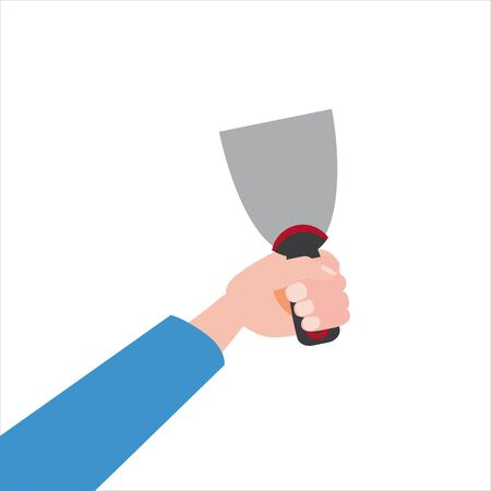 Hand holds putty knife, tool, illustration, vector isolated, cartoon style Illustration