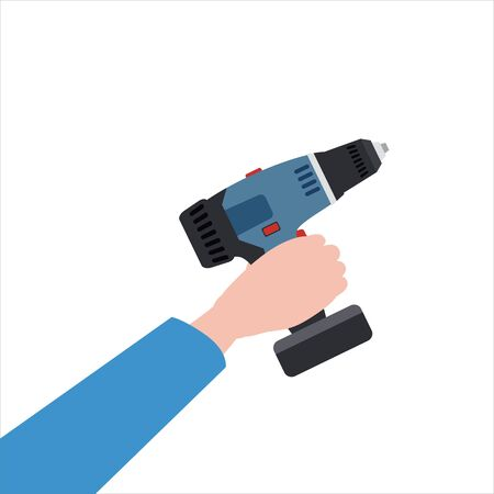 Hand holds electric screwdriver, tool, illustration vector