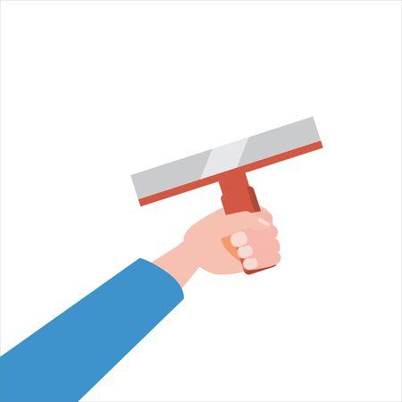 Hand holds putty knife, tool, illustration, vector isolated, cartoon style Ilustrace