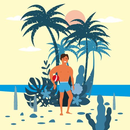 Men beach volleyball player character with a ball in shorts on background of exotic plants of palm sea, ocean, beach. Trend modern flat cartoon, vector, isolated, poster