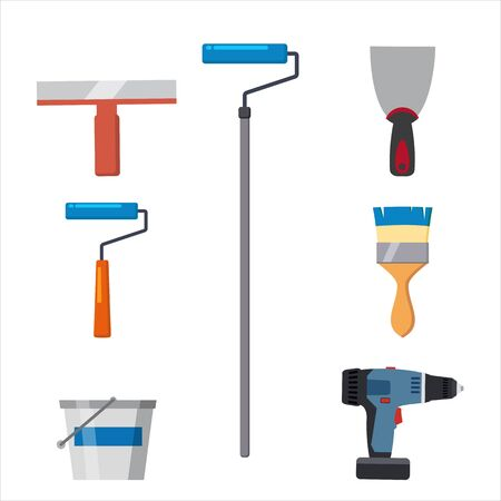 Définir les outils pinceau à rouleau, couteau à mastic, spatule, brosse, tournevis électrique, outil de réparation de seau de peinture. Instruments de rebouchage ou de peinture. Illustration vectorielle isolée sur blanc. Style de bande dessinée