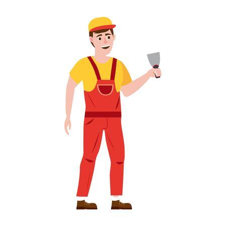 Homme de travail professionnel avec spatule. Illustration vectorielle, isolée
