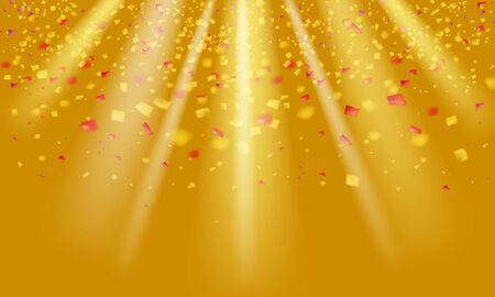 Gold glitter realistic confetti and tinsel flying on yellow holiday vector graphic design