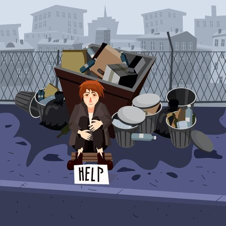 Illustration of a Young Beggar Wearing Dirty Clothes