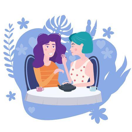 Romantisches Treffen von zwei Freundinnen in einem Café. Sitzen Sie Tee trinken in Stühlen, haben Sie Spaß und Entspannung