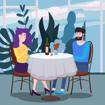 Loving couple is drinking vine in cafe. A man and a woman in love on date are sitting at a table in a cozy floral interior restaurant. Vector illustration in a trendy flat style