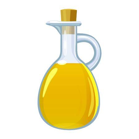 Vinegar in glass bottle. Vector illustration cartoon flat icon isolated on white background. Archivio Fotografico - 126776501