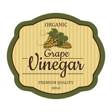 Grape Vintage vinegar label frame design for stickers and other design, banners. Vector isolated ready design  イラスト・ベクター素材