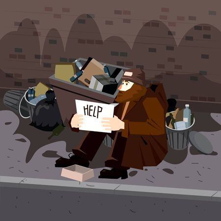 Homeless sad poor person male character beg help money near the garbage containers Ilustração