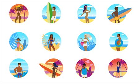 Set summer people beach icons decorative. Vacation trip holiday beach outdoor activty
