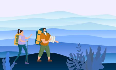 Tourists cute couple in love performing outdoor touristic activity - adventure travel, hiking walking trip Ilustrace