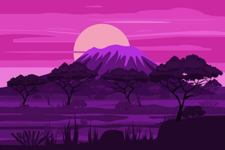 African sunset landscape savannah wild nature, twilight night. Grass, bushes, acacia trees and mountane. The nature of Africa. Reserves and national parks. Vector illustration isolated cartoon style Illusztráció
